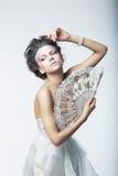 Enigma. Fantazja. Mody retro kobieta, rocznika fan Obraz Royalty Free