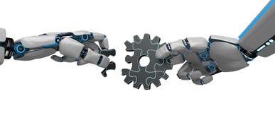 Enigma Humanoid da roda de engrenagem do robô ilustração do vetor