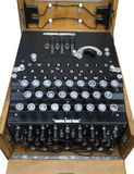 Enigma  Machine. Detail of German Enigma encryption machine showing patch board and keyboard Stock Image