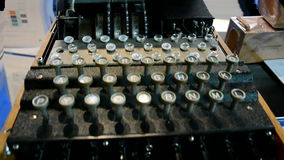 Encryption device Enigma machine, vintage security technology,. AMSTERDAM: encryption device Enigma machine under processing on September 15, 2014 in Amsterdam stock video footage