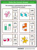 Enigma ou folha do treinamento de habilidades da matemática com frações visuais ilustração stock