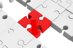 Enigma vermelho como uma ponte com umas peças brancas Fotografia de Stock