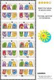 Enigma visual - combine as metades - flip-flops coloridos ilustração stock