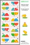 Enigma visual - combine as metades - ovos pintados Fotos de Stock