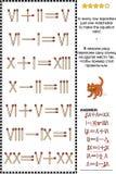 Enigma visual da matemática com numerais romanos e matchsticks ilustração do vetor