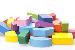 Enigmas de madeira coloridos Imagens de Stock Royalty Free
