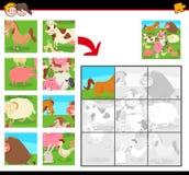 Enigmas de serra de vaivém com animais de exploração agrícola ilustração do vetor