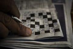 Enigmas e palavras cruzadas Fotografia de Stock Royalty Free