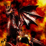 Enigmatic dragon. Dragon statue with fire background Stock Photos