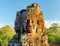 Enigmatic face-tower of Bayon temple in Angkor Thom, Cambodia Stock Photos