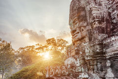 Enigmatic giant stone face of ancient Bayon temple, Cambodia Royalty Free Stock Image