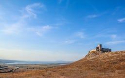 Enisala古希腊堡垒在多布罗加, Rom 库存照片