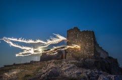 Enisala城堡在晚上 库存照片