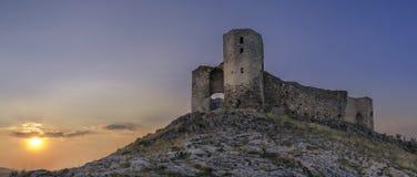 Enisala城堡日落 库存照片