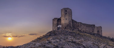 Enisala城堡日落 图库摄影