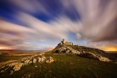 Enisala fortress by night, Dobrogea, Romania Royalty Free Stock Photo