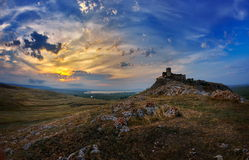 Enisala fortress at sunset, Dobrogea, Romania Royalty Free Stock Photos