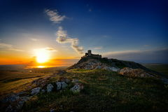 Enisala fortress at sunset, Dobrogea, Romania Royalty Free Stock Images