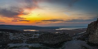 Enisala Fortress Sunset View royalty free stock photo