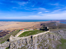 Enisala medieval fortress in Dobrogea, Romania. Aerial view Stock Photography