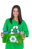 Enivromental activist holding box of recyclables Stock Image