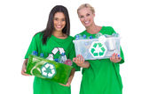 Enivromental activists holding box of recyclables Royalty Free Stock Photography