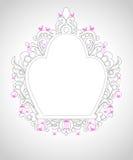 Enjaule el ornamento con la línea gris y los pájaros rosados Fotos de archivo libres de regalías