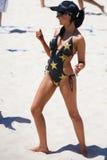 Enjeu de volleyball de plage de qualifiés aux finales de Mlle SuperGP Images stock