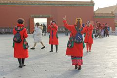 Dancing ladies in Forbidden city, Beijing, China stock photo