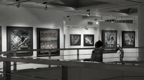 Enjoy the Art in gallery hall Stock Photography