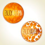 Enjoy autumn badge. Enjoy autumn - two round badge in high quality with pattern of leaves. Vector eps 10 stock image
