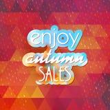 Enjoy autumn sales on geometric background. EPS 10 Royalty Free Stock Photography
