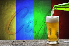 Enjoy beer in cafe. Royalty Free Stock Images