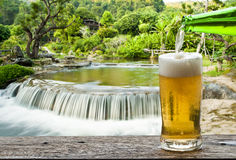 Enjoy beer with waterfall. Royalty Free Stock Image