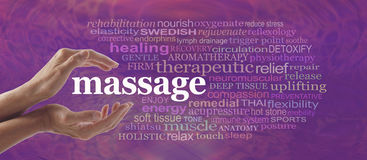 Enjoy the benefits of massage. Female hands gently cupped around the word MASSAGE surrounded by a relevant word cloud on a pink purple pattern background Royalty Free Stock Photo