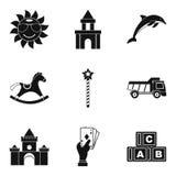 Enjoy childhood icons set, simple style. Enjoy childhood icons set. Simple set of 9 enjoy childhood vector icons for web isolated on white background Royalty Free Stock Photo