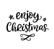 Enjoy Christmas phrase. Ink lettering. Greeting card with brush calligraphy, isolated on white background. Vector illustration vector illustration