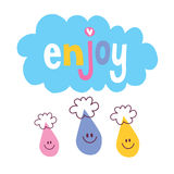 Enjoy. With clouds and raindrop characters Royalty Free Stock Photo