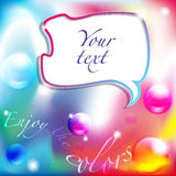 Enjoy the colors background with comic balloon. And text space Stock Photography