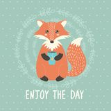 Enjoy the day card with a cute fox Stock Images