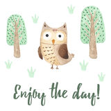 Enjoy the day card with a cute owl. Watercolor illustration stock illustration