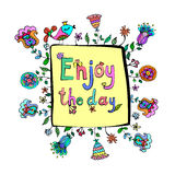 Enjoy the day motivation quote with doodle floral cute background. Stock Photography