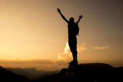 Enjoy discovery. Summit success.Mountaineering activities.Peak and success concept and peace Royalty Free Stock Photo