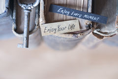 Enjoy every moment and Enjoy your life text Stock Photo