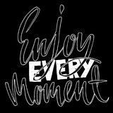 Enjoy every moment. Hand drawn dry brush lettering. Ink illustration. Modern calligraphy phrase. Vector illustration. Enjoy every moment. Hand drawn dry brush Royalty Free Stock Images