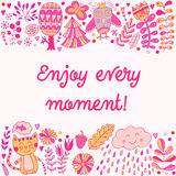 Enjoy every moment lettering illustration card, cute childish design: flower doodles, cat and owl in romantic style. Stock Photos