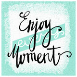 Enjoy every moment. Modern brush calligraphy. Handwritten ink lettering. Hand drawn design elements. Motivation quote. Royalty Free Stock Photography