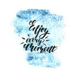 Enjoy every moment phrase - inspirational freehand ink stock illustration