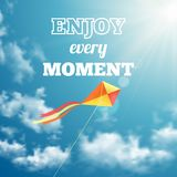 Enjoy every moment phrase on sky background Stock Images