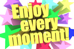 Enjoy Every Moment slogan. Golden text with vivid stars Royalty Free Stock Images